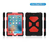iPad Air 2 Case, KIDSPR Full-body Rugged Protective Case with Kickstand and Built-in Shockproof Drop Proof Super Protection Stand Cover Case for iPad Air 2 (iPad Air 2, Black Red)