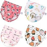 U0U Baby Girls'4 Pack Cotton Training Pants Toddler Potty Training Underwear for Boys and Girls 12
