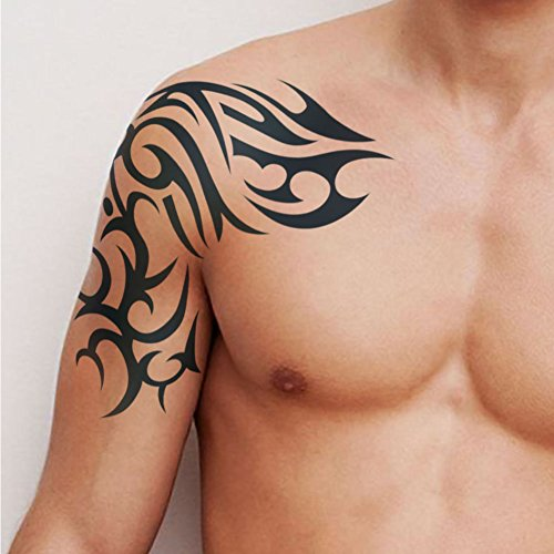 Totem Temporary Tattoo (TAFLY Temporary Tattoos Men Totem Extra Large 8.6 x 9.4 Inches Shoulder Arm Band Body Art 2 Sheets)