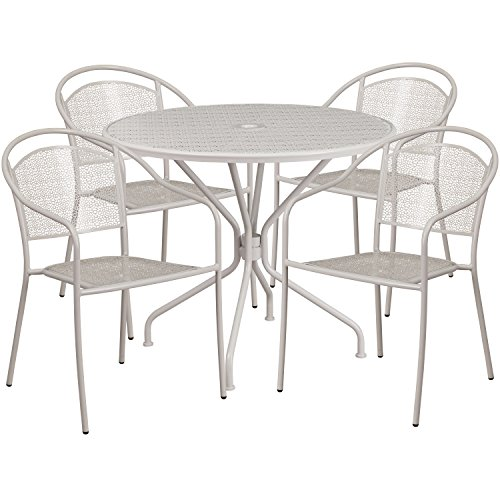 Garden District Metal (Flash Furniture 35.25'' Round Light Gray Indoor-Outdoor Steel Patio Table Set with 4 Round Back Chairs)