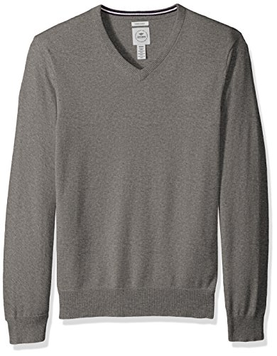 Dockers Men's Long Sleeve V-Neck Cotton Sweater, Medium Grey, Large