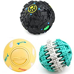PetFavorites Treat Dispensing Dog Toy IQ Balls Interactive Chew Toys & Smart Food Puzzle for Boredom/Dental Teething/Slow Down Feeding, 3 Pack