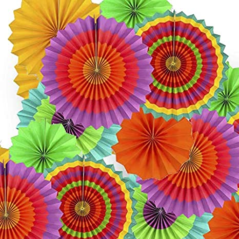 Party-Dekorationsset 21pc-paperfans-orange