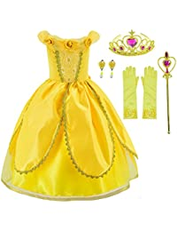 Princess Belle Costume Deluxe Party Fancy Dress Up For Girls with Accessories 2-12 Years