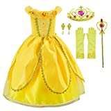 Princess Belle Costume Deluxe Party Fancy Dress Up For Girls with Accessories 3-4 Years(110cm)