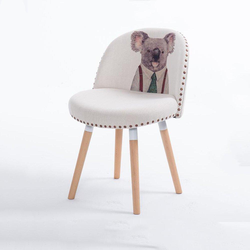 DALL ダイニングチェア JY 29クリエイティブファッション 動物のパターン コットンリネン 組み立てることができます 柔らかい スポンジパッド 背もたれレジャー木製椅子 (色 : 2) B07DD7D9MF 2 2