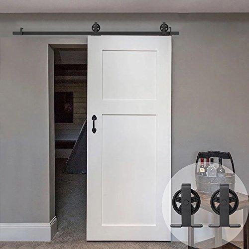 WINSOON T Shaped Style Big Spoke Wheel Sliding Barn Door Hardware Kit for Single Door (7.5FT Single Door Track Kit) (8 Prices Foot Door Sliding Patio)