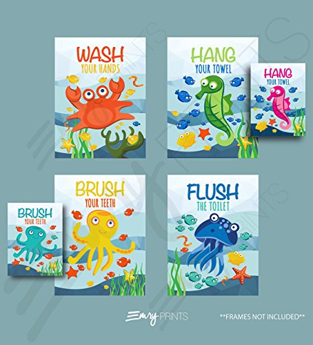 Ocean Bathroom Art Prints (Set of 4) (Unframed) 8x10 - Underwater Bathroom Wall Art Prints Children's Underwater Bathroom Ocean Theme Bathroom Wall Art 8x10 (Brush Flush Hang & Wash)