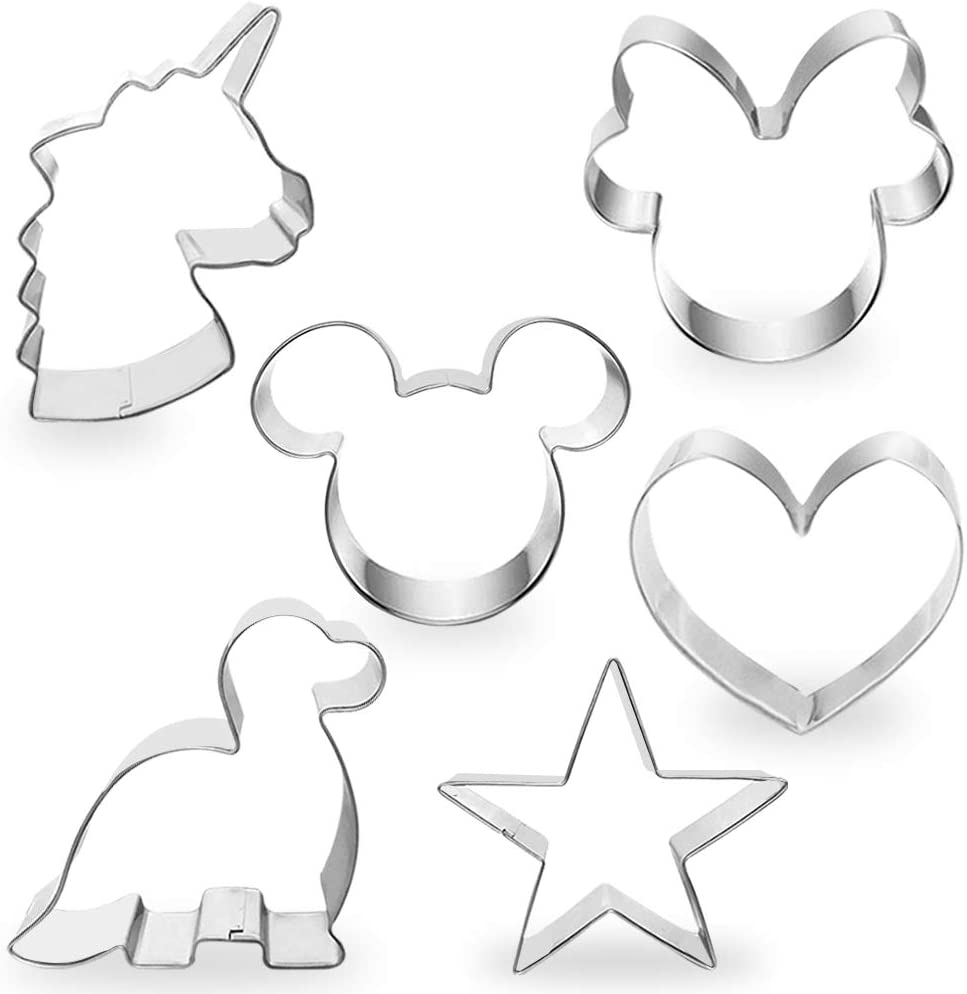 "COTEY Cookie Cutters 4"" to 3"" Set of 6 Mickey & Minnie Mouse Unicorn Dinosaur Heart Star Hot Biscuit Cake Fondant Pancake Cutter Mold for Kids Children Holiday Celebration Birthday Party"