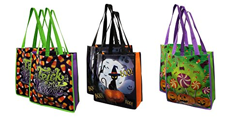 Earthwise Halloween Trick or Treat Bags - Reusable Candy Goodie Totes Baggies Party Favor Bags (6 Pack) 3 Cute Prints - Jackolanterns, Ghosts and Candy -