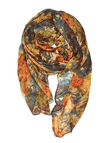 YOUR SMILE Lightweight Scarves beach towels Pareo : Fashion Flowers Print Shawl Wrap For Women For Spring Summer(Orange/Yellow Abstract)