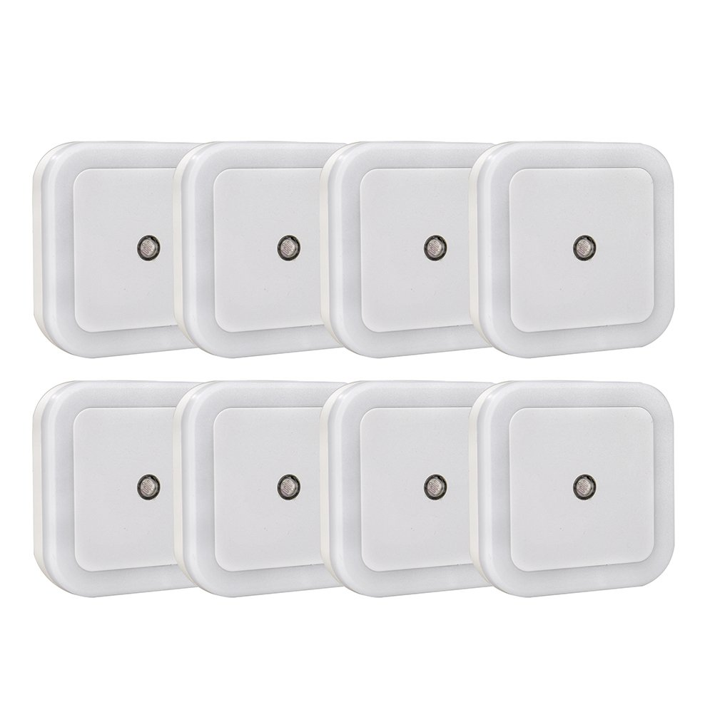 [Offset Prongs] Ledinus 8 Pcs Plug In LED Night Light without Block the Second Outlet, Dusk To Dawn On / Off Sensor,Wall Night Light for Kids Baby Nursery Bedroom Hallway,Stairs,White Light,Pack of 8