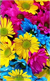 Book 2018 / 2019: Purple, Yellow, Blue & Flowers. Pocket Planner, 4