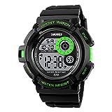 Bozlun Digital Sport Watch with 7 Colors EL Light Waterproof Stopwatch for Boys Girls Men Women - Green
