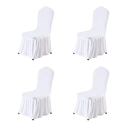 Tremendous Uxcell Stretch Spandex Dining Room Chair Covers Long Ruffled Skirt Slipcover For Wedding Banquet Party Chair Covers White 4Pcs Download Free Architecture Designs Madebymaigaardcom