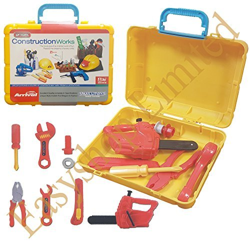 Lado Kids 8 Pcs Tool Set Pretend Play Toy Set in Handy Carry Along Tool Box (Spanner,Saw,Wrench,Plier, Nuts & Bolts) SI-TY1098 by Lado Spanner Handy Tool