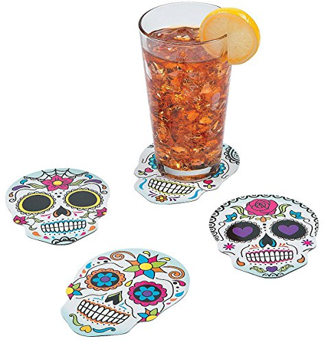 Day Of The Dead Party Decor (12 ~ Day of the Dead / Candy Skull Cardboard Coasters / Wall Decorations ~ 5