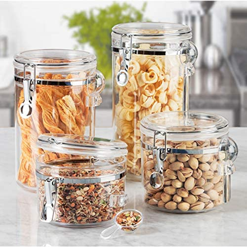 home, kitchen, kitchen, dining, storage, organization, food storage,  food storage, organization sets 3 image Oggi 4-Piece Acrylic Canister Set with Airtight in USA