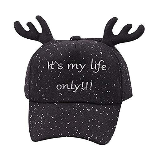 Fineser Christmas Baby Hat, Cute Toddler Caps for Boys Girls Letter Bongrace Christmas Antlers Hat Peak Baseball Cap Sunhat (Black) ()