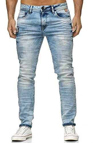 Bridge Pantaloni Uomo Red Strappati Blu Jeans Slim Hellblau Moda Iced pxg6dwRx