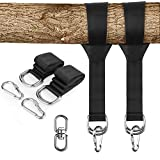 Zexmte Tree Swing Hanging Straps Kit Holds 2200 lbs,Two 5ft Straps with Safer Heavy Duty Carabiner and Swivel Hook,Perfect for Hammocks & Most Swing Seats