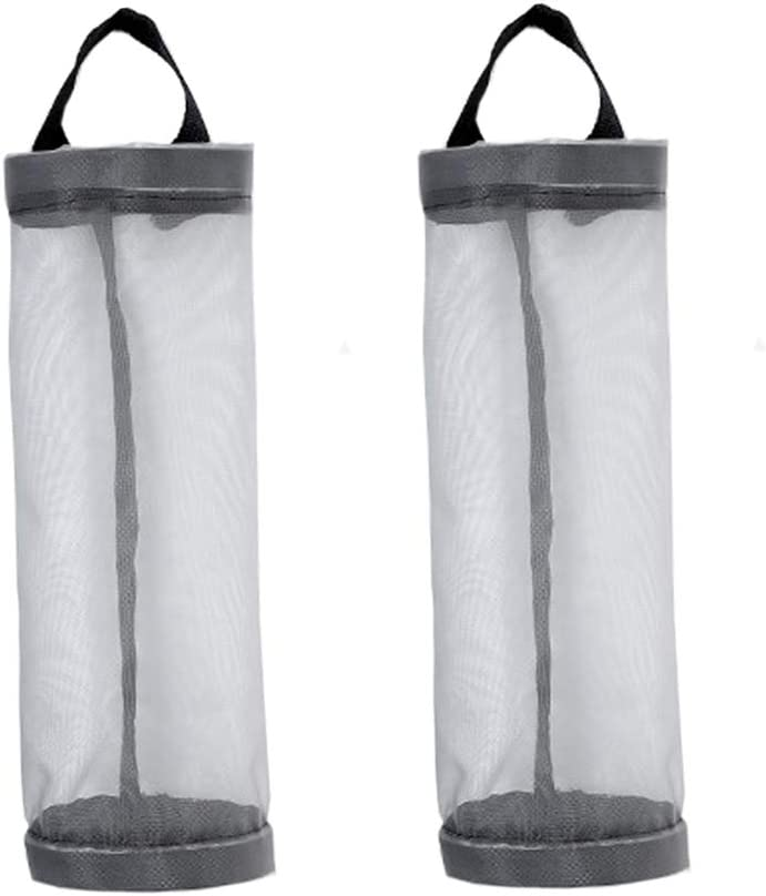 2Pcs Plastic Bag Holder Dispenser Folding Mesh Hanging Storage Garbage Trash Bag Organizer Recycling Grocery Pocket Containers for Home Kitchen Space Saver,Grey