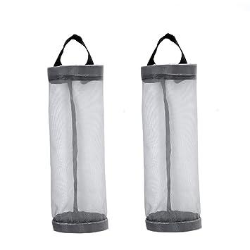 2 bolsas de plástico dispensador de malla plegable para almacenamiento de basura, organizador de bolsas
