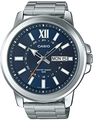 Casio MTP-X100D-2AV Men's Stainless Steel Watch, Day/Date (Large) Blue Dial (Watch Large Date)