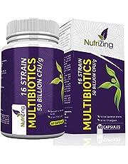 Probiotiques 50 Milliards d'UFC/g - 16 Souches de Bactéries Bénéfiques - 100% Végétarien et Végétalien - Capsules spéciales à libération retardée, résistantes aux acides de l'estomac -par NutriZing
