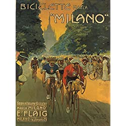 "BIKE BICYCLE RACE BICICLETTE MILANO ITALIA ITALY ITALIAN VINTAGE POSTER REPRO 14""x18"""