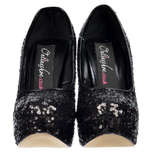 Haut Paillettes Brillant Chaussures Stylets Des Talon Sequin Dames Noires Femmes Onlineshoe Noir Plateforme De v7xCqzwnz