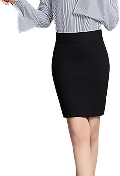 Mujer Faldas Cortas Lápiz Elásticos Talle Alto Color Sólido ...