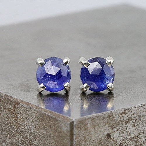 14k White Gold Stud Earrings with Rose Cut Blue Sapphire