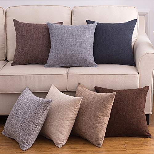 JIWU Decorative Throw Pillow Covers Set of 7 Indoor & Outdoor Pure Color Linen Cushion Sham for Living Room 18