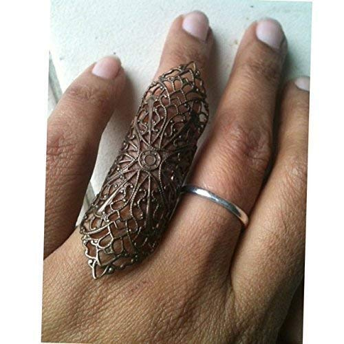 Armor Ring Gothic Flourish Filigree Ring Thumb Ring Vintage Style antique Gold color Shield Full finger ring, vintage style filigree,copper,sizable by customjewelry rings