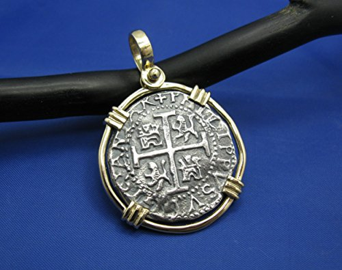 New 'Piece of 8' Replica Pirate Cob in Solid 14k Gold Pendant Bezel (Large: 1.75