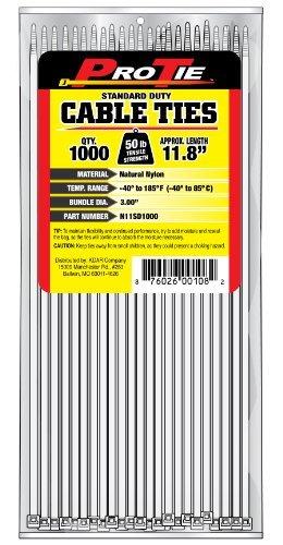 Pro Tie N11SD1000 11.8-Inch Standard Duty Cable Tie Natural Nylon 1000-Pack [並行輸入品]   B07NBHZ1R6