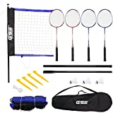 GSE Games & Sports Expert Deluxe Portable Lawn, Backyard, Park and Beach Game Set (Badminton/Volleyball) (Recreational Badminton Set)