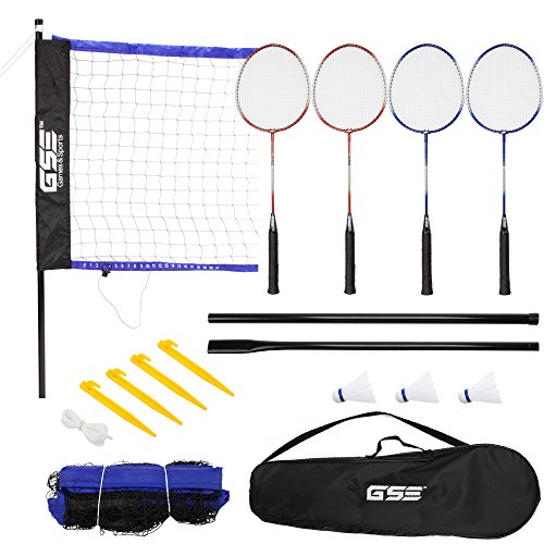 (GSE Games & Sports Expert Portable Badminton Volleyball Set. Including Volleyball/Badminton Net System and Accessories. (Recreational Badminton)