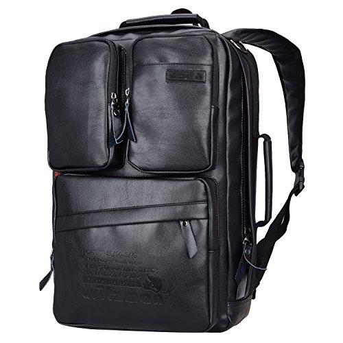 Witzman Men Retro Canvas Backpack Travel Rucksack Casual Duffel Bag 6617 (23 inch, Black PU leather)