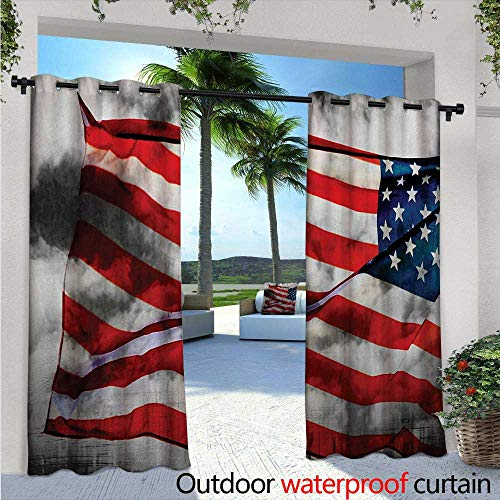 Block Mist Lavender - American Flag Exterior/Outside Curtains W72 x L108 Banner in The Sky on Cloudy Mist Display National Symbol Proud of Heritage for Patio Light Block Heat Out Water Proof Drape Grey Red Blue