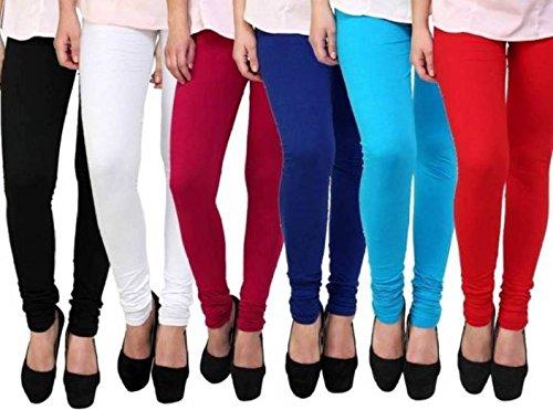 PI World Women's Cotton Churidar Leggings – Pack of 6 (Multicolour, Free Size)
