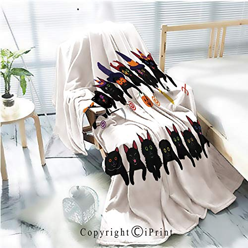 AngelSept Flannel Printed Blanket for Warm Bedroom,Cute Black Kitties Border Set with Halloween Costumes Cracked Burning Earth Decorative,One Side Printing,W47.2 x -