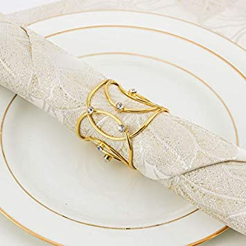 ANPHSIN Set of 8 Napkin Rings Dinning Table Setting for Casual or Formal Occasions- Circle Gold