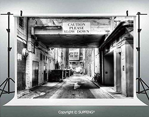 (Photo Backdrop Caution Please Slow Down Sign on Passage Town Old Fashion Urban District Scenery 3D Backdrops for Interior Decoration Photo Studio)