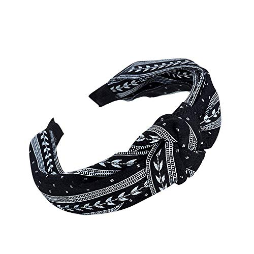 Napoo--Hair Clip Women Girls Fashion Sweet Bow Knot Arrow Print Hairband Hoop Simple Headband Accessories (Black) ()