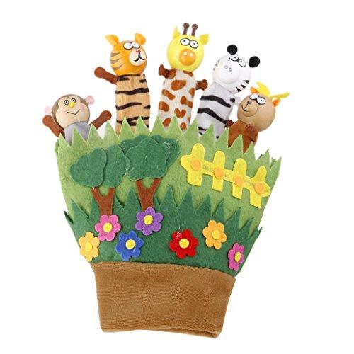 Marionnette à Main Animaux Mignons en Bois Jouet Cadeau Enfant