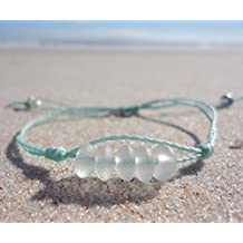 Sea Glass Bead Bracelet--Adjustable Waterproof Wax Coated Bangle or Anklet--Teal Thread--Handcrafted Bracelet with White Beads