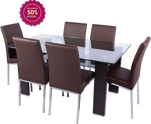 BUDMOSUR Conjunto Mesa de Cristal y 4 sillas de Comedor: Amazon.es ...