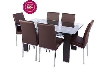 Conjunto mesa de cristal y 4 sillas de comedor: Amazon.es: Hogar